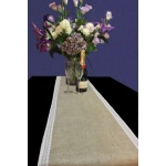 Hessian Table Runner with White Lace edge